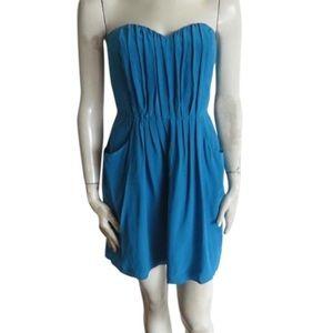 Rebecca Taylor silk blue strapless dress